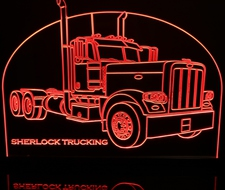 Semi Truck Pblt (add your own text) Acrylic Lighted Edge Lit LED Sign / Light Up Plaque Full Size Made in USA