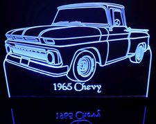 1965 Chevy Pickup Truck Acrylic Lighted Edge Lit LED Sign / Light Up Plaque Full Size USA Original