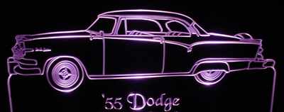 1955 Dodge Acrylic Lighted Edge Lit LED Car Sign / Light Up Plaque