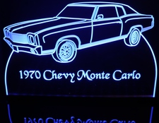 1970 Chevy Monte Carlo SS Acrylic Lighted Edge Lit LED Sign / Light Up Plaque Full Size Made in USA