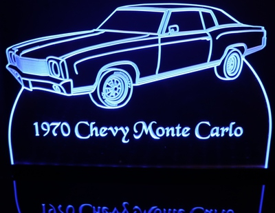 1970 Chevy Monte Carlo SS Acrylic Lighted Edge Lit LED Car Sign / Light Up Plaque Chevrolet