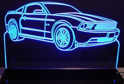 2012 Mustang Acrylic Lighted Edge Lit LED Sign / Light Up Plaque Full Size USA Original