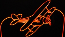 Bi-Plane Plane Airplane Acrylic Lighted Edge Lit LED Sign / Light Up Plaque Full Size Made in USA