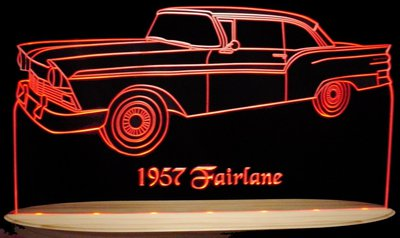 1957 Fairlane Acrylic Lighted Edge Lit LED Sign / Light Up Plaque Full Size USA Original