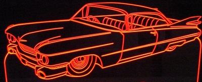 1959 Cadillac Coupe DeVille Acrylic Lighted Edge Lit LED Sign / Light Up Plaque Full Size Made in USA