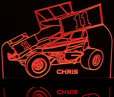 Sprint Wing Car Race Car Acrylic Lighted Edge Lit LED Sign / Light Up Plaque Full Size Made in USA