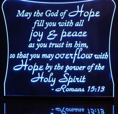 Bible Verse Romans 15:13 Acrylic Lighted Edge Lit LED Sign / Light