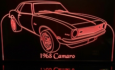 1968 Camaro Acrylic Lighted Edge Lit LED Sign / Light Up Plaque Full Size USA Original