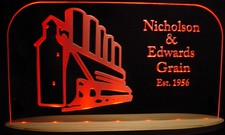 Grain Elevators Acrylic Lighted Edge Lit LED Sign / Light Up Plaque Full Size USA Original