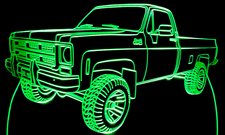 1976 GMC Pickup Half Ton 4x4 Acrylic Lighted Edge Lit LED Truck Sign / Light Up Plaque Chevy / Chevrolet