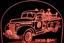 1938 GMC Truck (Fire truck) Acrylic Lighted Edge Lit LED Sign / Light Up Plaque