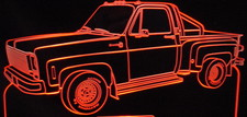 1980 Pickup Truck Acrylic Lighted Edge Lit LED Sign / Light Up Plaque Full Size Made in USA