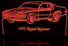 1973 Plymouth Roadrunner Acrylic Lighted Edge Lit LED Sign / Light Up Plaque Full Size Made in USA
