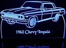 1962 Chevy Impala Acrylic Lighted Edge Lit LED Sign / Light Up Plaque Full Size Made in USA