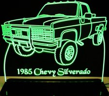 1985 Chevy Pickup Truck Silverado Acrylic Lighted Edge Lit LED Car Sign / Light Up Plaque Chevrolet