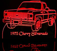 1975 Chevy Pickup Silverado Acrylic Lighted Edge Lit LED Truck Sign / Light Up Plaque Chevrolet