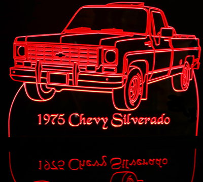 1975 Chevy Pickup Silverado Acrylic Lighted Edge Lit LED Sign / Light Up Plaque Chevrolet Full Size Made in USA