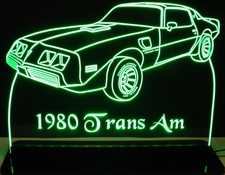 1980 Pontiac Trans Am Acrylic Lighted Edge Lit LED Car Sign / Light Up Plaque