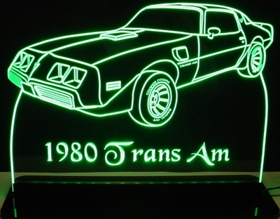 1980 Trans Am Acrylic Lighted Edge Lit LED Sign / Light Up Plaque Full Size Made in USA