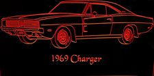 1969 Charger Acrylic Lighted Edge Lit LED Sign / Light Up Plaque Full Size USA Original