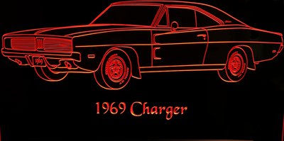 1969 Charger Acrylic Lighted Edge Lit LED Sign / Light Up Plaque Full Size Made in USA