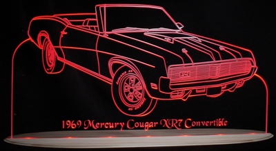 1969 Cougar XR7 Convertible Acrylic Lighted Edge Lit LED Sign / Light Up Plaque Full Size USA Original