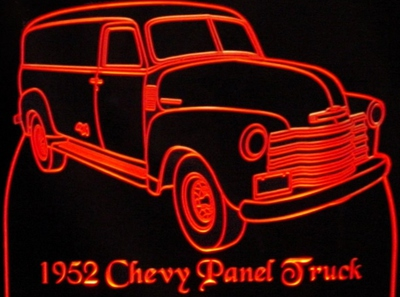 1952 Chevy Panel Acrylic Lighted Edge Lit LED Sign / Light Up Plaque Chevrolet Full Size USA Original