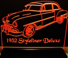 1952 Styleliner Deluxe Acrylic Lighted Edge Lit LED Car Sign / Light Up Plaque