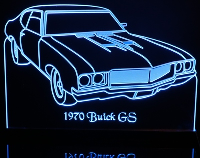 1970 Buick GS Acrylic Lighted Edge Lit LED Car Sign / Light Up Plaque