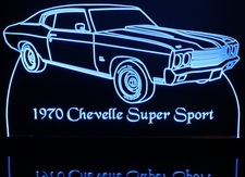 1970 Chevrolet Chevelle SS Acrylic Lighted Edge Lit LED Car Sign / Light Up Plaque Chevy
