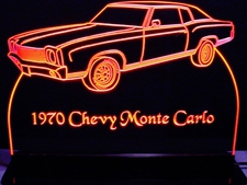 1970 Chevy Monte Carlo Acrylic Lighted Edge Lit LED Car Sign / Light Up Plaque Chevrolet