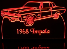 1968 Chevy Impala Acrylic Lighted Edge Lit LED Car Sign / Light Up Plaque Chevrolet