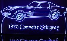 1970 Chevy Corvette Stingray Acrylic Lighted Edge Lit LED Car Sign / Light Up Plaque Chevrolet