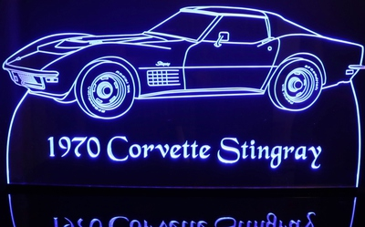 1970 Corvette Stingray Acrylic Lighted Edge Lit LED Sign / Light Up Plaque Full Size Made in USA
