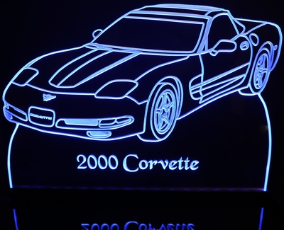 2000 Chevy Corvette Acrylic Lighted Edge Lit LED Car Sign / Light Up Plaque Chevrolet