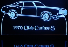 1970 Oldsmobile Cutlass S Acrylic Lighted Edge Lit LED Car Sign / Light Up Plaque