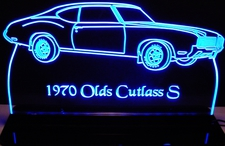 1971 Olds Cutlass Supreme SX Acrylic Lighted Edge Lit LED Sign / Light Up Plaque Full Size Made in USA