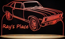 Rays Place with Car Acrylic Lighted Edge Lit LED Sign / Light Up Plaque Full Size USA Original