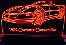 1989 Chevy Corvette Convertible Acrylic Lighted Edge Lit LED Sign / Light Up Plaque Full Size Made in USA