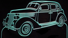 1936 Ford 4 Door Acrylic Lighted Edge Lit LED Sign / Light Up Plaque Full Size Made in USA