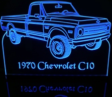 1970 Chevy Pickup Acrylic Lighted Edge Lit LED Sign / Light Up Plaque Full Size Made in USA