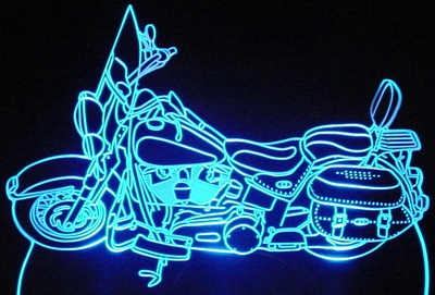 Motorcycle HD Acrylic Lighted Edge Lit LED Bike Sign / Light Up Plaque