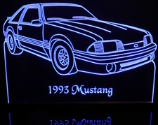 1993 Mustang GT Acrylic Lighted Edge Lit LED Sign / Light Up Plaque Full Size USA Original VVD3