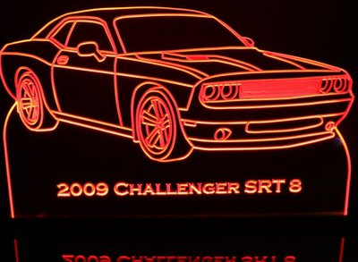 2009 Challenger Acrylic Lighted Edge Lit LED Sign / Light Up Plaque Full Size Made in USA