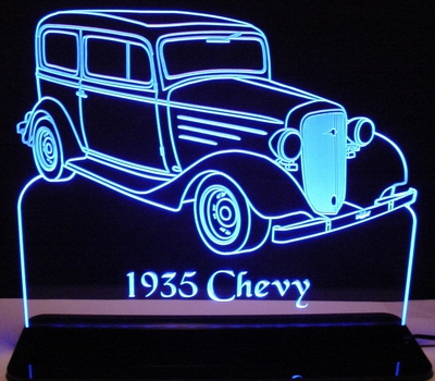 1935 Chevy Acrylic Lighted Edge Lit LED Sign / Light Up Plaque Full Size Made in USA
