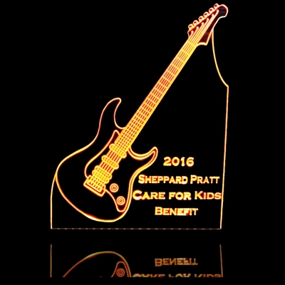 Guitar Care for Kids Business Logo Acrylic Lighted Edge Lit LED Sign / Light Up Plaque Full Size Made in USA