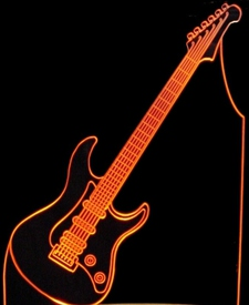 Guitar Upright Add Your Text Acrylic Lighted Edge Lit LED Sign / Light Up Plaque Full Size USA Original