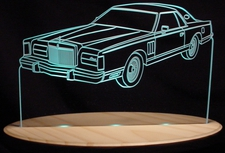 1978 Lincoln Mark V Acrylic Lighted Edge Lit LED Car Sign / Light Up Plaque
