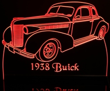 1938 Buick Acrylic Lighted Edge Lit LED Sign / Light Up Plaque Full Size Made in USA