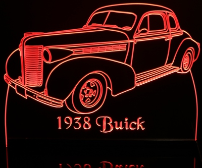 1938 Buick Acrylic Lighted Edge Lit LED Sign / Light Up Plaque Full Size USA Original